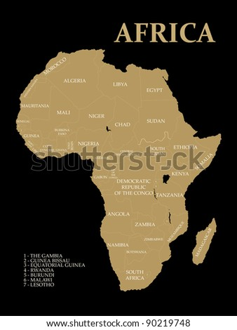 Map of Africa on the white background - stock photo
