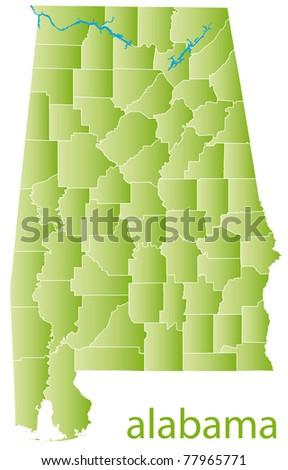 map of alabama state - stock photo