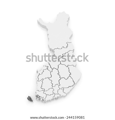 Map of Aland Islands. Finland. 3d - stock photo