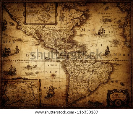 map of America 1632. - stock photo