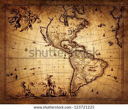 map of America 1690. - stock photo
