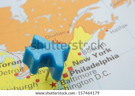 Map Of America With Model Plane Over New York - stock photo
