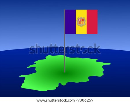 map of Andorra and their flag on pole illustration JPG
