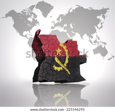 Map of Angola with Angolan Flag on a world map background - stock photo