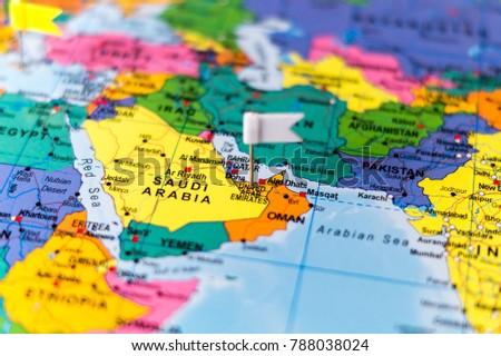 Map Arabian Peninsula Pins Stock Photo (Royalty Free) 788038024 ...