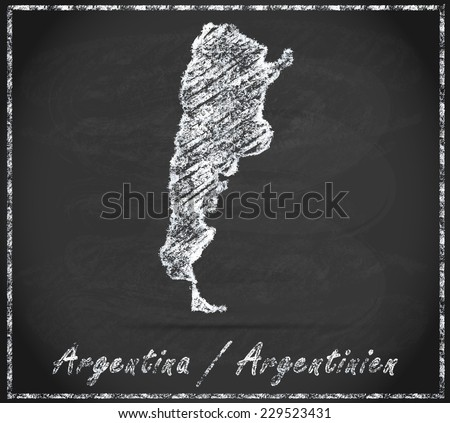 Map of Argentina as chalkboard  in Black and White