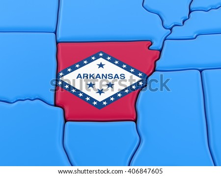 Map of Arkansas state with flag - stock photo