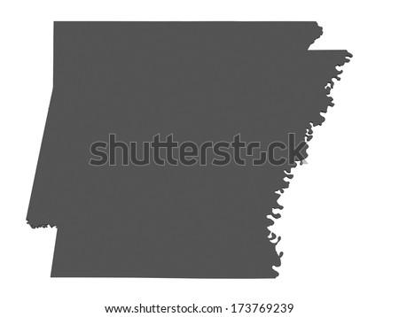 Map of Arkansas - USA - stock photo