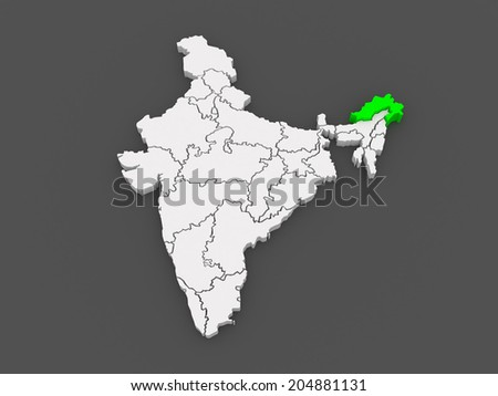 Map of Arunachal Pradesh. India. 3d