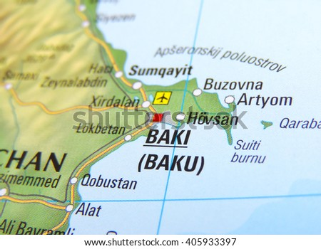Map Aserbaidschan Focus On Baku Stock Photo Royalty Free 405933397