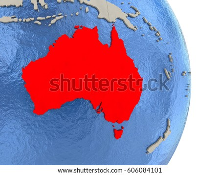 map of australia on globe with blue watery seas 3d illustration
