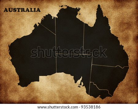 Map of Australia on the old texture