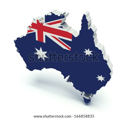 Map of Australia with flag colors. 3d render illustration. - stock photo