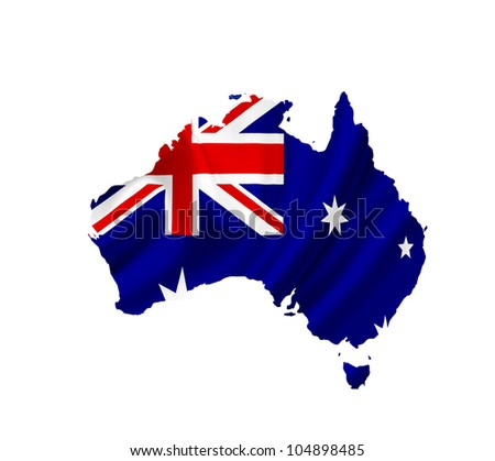 Map of Australia with waving flag isolated on white - stock photo