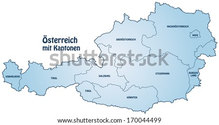 Map of Austria with borders in blue