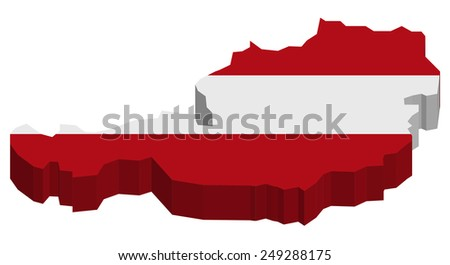 Map of Austria with national flag decor  - stock photo