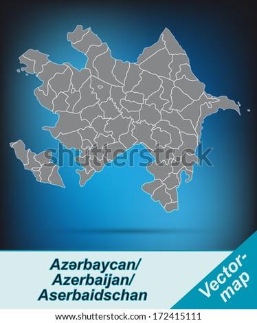 Map of Azerbaijan with borders in bright gray - stock photo