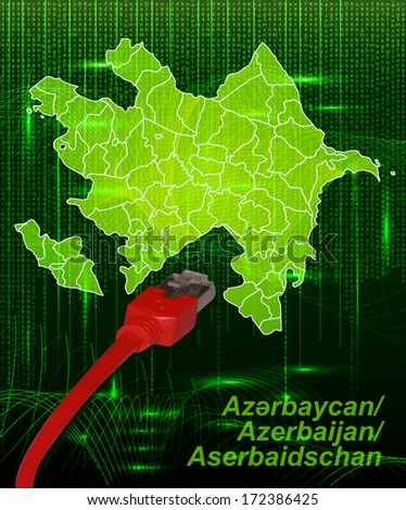 Map of Azerbaijan with borders in network design - stock photo