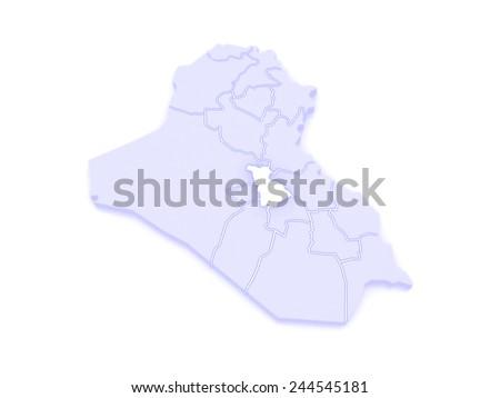 Map of Babil. Iraq. 3d - stock photo