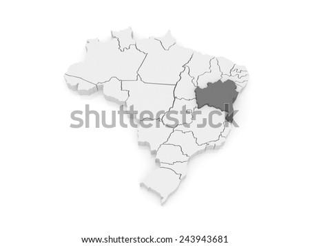 Map of Bahia. Brazil. 3d - stock photo