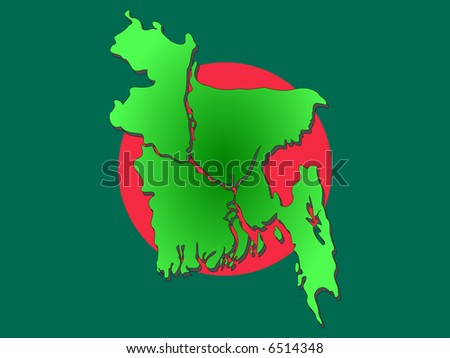 Map of Bangladesh and Bangladeshi flag illustration JPG