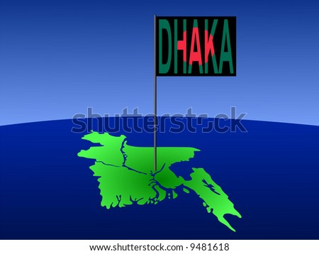 map of Bangladesh with position of Dhaka marked by flag pole illustration JPG