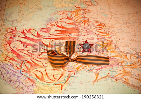 Map of battles in World War II. George Ribbon, Order of the Red Star. - stock photo