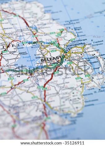 Map of Belfast in Northern Ireland - stock photo