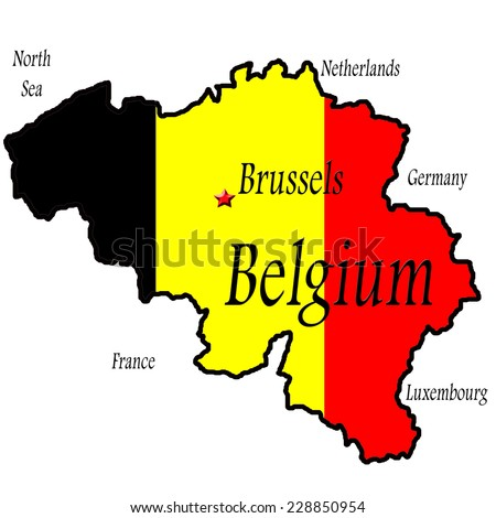 Map Belgium Brussels Highlighted Flag Colors Stock Illustration