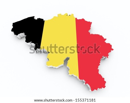 map of belgium with flag on white isolated - stock photo