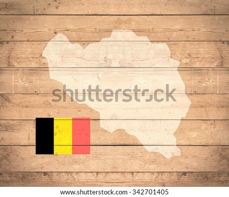 map of Belgium with flag on wooden background (3d render)- Elements of this image furnished by NASA - stock photo