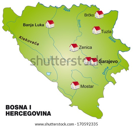 Map of Bosnia and Herzegovina as an infographic in green