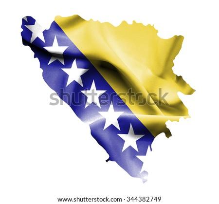 Map of Bosnia and Herzegovina with waving flag isolated on white - stock photo