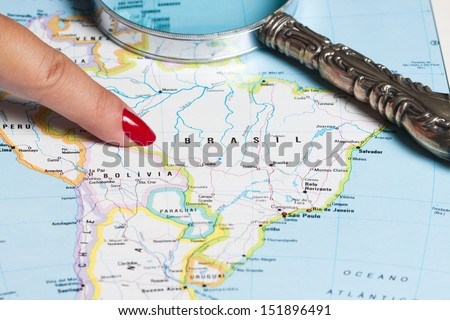 Map of Brazil and South America - stock photo
