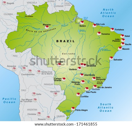 Map of Brazil as an infographic in green