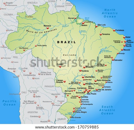 Map of Brazil as an overview map in pastel green