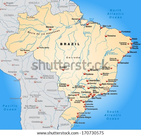 Map of Brazil as an overview map in pastel orange
