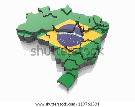 Map of Brazil in Brazilian flag colors. 3d - stock photo