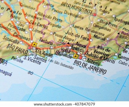 Map of Brazil with focus on Rio de Janeiro - stock photo