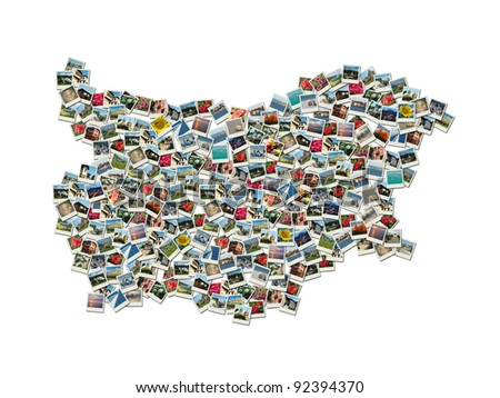 Map of Bulgaria - collage made of travel photos with famous bulgarian landmarks All photos are my own - stock photo