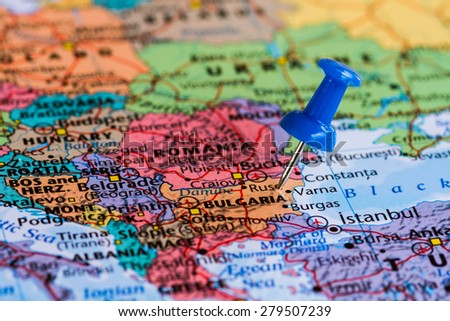 Map of Bulgaria with a blue pushpin stuck - stock photo