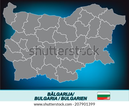Map of Bulgaria with borders in bright gray - stock photo