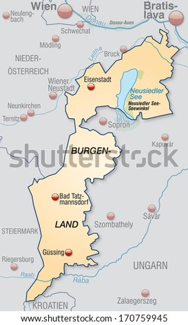 Map of Burgenland as an overview map in pastel orange