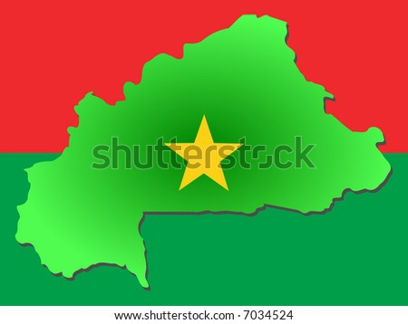 map of Burkina-Faso and their flag illustration JPG