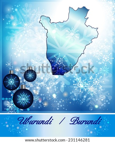 Map of burundi in Christmas Design in blue