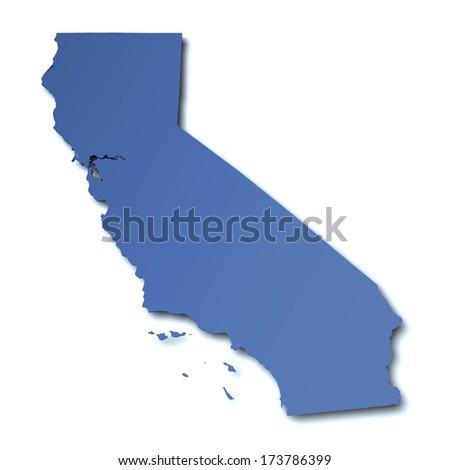 Map of California - USA - stock photo