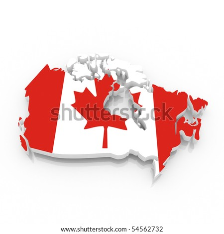 map of Canada filled with flag. Clipping path included. - stock photo