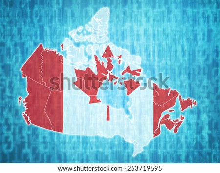 map of canada with administrative divisions over digital background - stock photo