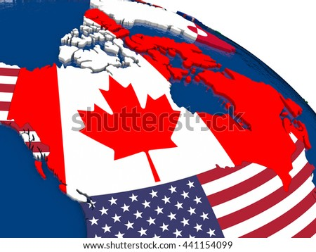 Map of Canada with embedded flags on 3D political map. Accurate official colors of flags. 3D illustration - stock photo