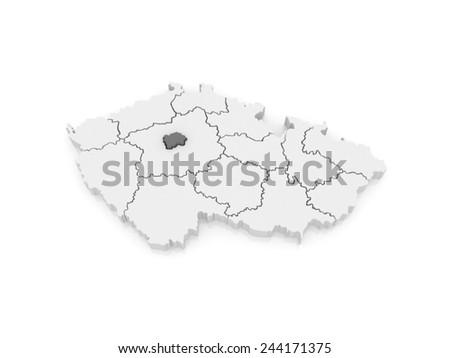 Map of Capital of Prague. Czech Republic. 3d - stock photo